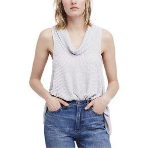 We The Free Cowl Neck Knit Swing It Tank L Gray